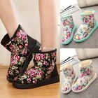 Princess Women's Flat Fur Lined Winter Warm Snow Ankle Boots New Suede Shoes DZ8