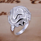 Beautiful Women's 925 Sterling Silver Large Rose Flower Ring Womens Jewelry A011