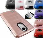 FOR LG ARISTO MS210 LV3 METALLIC BRUSHED FINISH CASE IMPACT HYBRID COVER+FILM