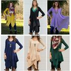 Womens Asymmetrical Casual Feminine Long Sleeve Tunic Shirt Dress TXCL