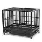 "New 36"" Heavy Duty Dog Pet Animal Crate Cage Kennel with Wheels Black  / Silver"