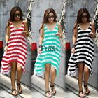 Women Boho Sundress Striped Summer Beach Dress Long Cocktail Evening Dress TXCL