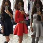 Fashion New Women Back Zipper 3/4 Sleeve Pleated Solid Evening Party Dress TXCL