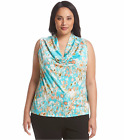 RELATIVITY® Plus Size 3X Aqua Abstract Drape Neck Knit Top NWT