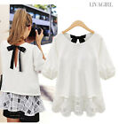 Fashion Womens Ladies Lace Chiffon Summer Loose Tops Short Sleeve Blouse T-Shirt