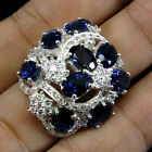 EXCELLENT ! NATURAL PURPLE BLUE IOLITE & SAPPHIRE REAL 925 STERLING SILVER RING