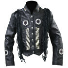 Western World Beaded Fringe & Bone Leather Jacket Black Women's Sizes