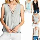 Solid Sleeveless Overlap Criss CrossFront High Low Hem Top with Elastic S M L