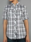 BRAND NEW ENGLISH ROSE 100 COTTON BUTTON DOWN BLACK/GREY SHORT SLEEVE SHIRT