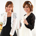 plus size Four Seasons lace long sleeve women's Shrug Bolero Jacket lady blouse