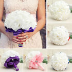 Handmade Bridal Crystal Artificial Rose Flower Bouquet Wedding Bride Party Decor