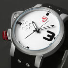SHARK Minimalist Style Mens Analog Rubber Strap Sport Quartz Wrist Watch 5Colors