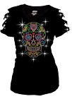 Bling Bling Sugar Skull Rhinestone T-Shirt,Heart Neon Studs Ripped Cut Out S~3XL