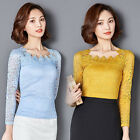 Delicate Womens Lace Flowers Blouse Tops Fashion Lady Long Sleeve Tee Shirts