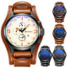 Luxury Men's Date Brown Leather Stainless Steel Analog Quartz Sport Wrist Watch