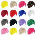 Indian Style Women Stretch Turban Hat Pleated Bead Cap Hijab Band Chemo Wrap