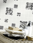 Holden Decor Pebble Embossed Tile Kitchen Bathroom Wallpaper Black 89120