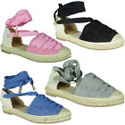 New Womens Flat Platform Ladies Suede Ribbon Tie Up Espadrilles Pumps Shoes Size