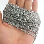 Wholesale 5/10meter  Ladies Jewelry Silver Tone Stainless Steel Twisty Chain 3mm