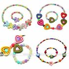 Girl Children Candy Color Necklace Bracelet Charms Party Jewelry Set Cute Gift