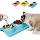 Stainless Steel Pet Dog Cat Puppy Food Water Feeder Double Bowl Dish Holder
