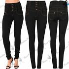 Womens Ladies Skinny Slim Fit High Waist Full Length Elastic Pencil Denim Jeans