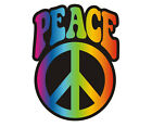 Tye Dye Peace Decal Hippie Tie Rainbow Anti-War Symbol Gloss Vinyl Sticker H1G