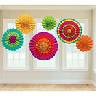 "2pack 6 Vibrant Bright Color Hanging Paper Fan Rosettes Party Decor 8""/12""/16"""