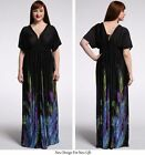 Plus size V neck Long Gown Printed Batwing Sleeve Women long Dresses Maxi Gowns