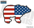 Bear Decal American Flag USA Grizzly Kodiak Hunter Gloss Vinyl Sticker (RH) H1G