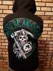 Sons Of Anarchy Embroidered Official Ireland Biker Zip Hoodie  FREE patch set
