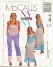 McCalls 3102 JR Junior Top Skirt Pants Sewing Pattern ~ Size 1/2-7/8