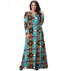 Women's Wrap Dress Floral Long Sleeve Evening Party Maxi gowns Plus Size L-7XL