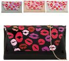 LADIES FAUX LEATHER LIPSTICK FOLD OVER ENVELOPE WEDDING PARTY EVENING CLUTCH BAG
