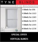 *Bargain* 8 VERTICAL BLINDS - £198 (headrail & slats) DALIA up to 6ft w x 7ft d