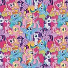 MY LITTLE PONY :  multicolor packed  : 100% LICENSED cotton : by the 1/2 metre