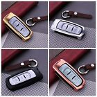 For Geely Remote Car Key Case Aircraft Aluminum Cover Genuine Leather Keychain