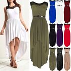 Women Ladies Mesh Insert Lace Hi Lo Dip Hem Keyhole Back Assymetric Belted Dress
