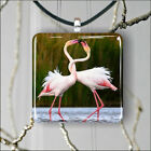 BIRD LOVE IS FOR PINK FLAMINGO TOO PENDANT NECKLACE 3 SIZES CHOICE -kdv4Z