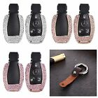 For Benz Remote Car Key Cover Bling Crystal Aluminum Case Genuine Leather Chain