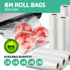 2/4/6/8/10 ROLLS 20CMx6M Vacuum Food Sealer Bags  BPA Free Storage Saver Freezer