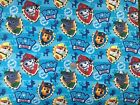 PAW PATROL badges on blue : LICENSED fabric : by the 1/2 metre