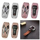 Luxury Remote Car Key Cover Bling Crystal Aluminum Case Genuine Leather Keychain