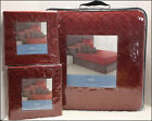 LOT 3 -  Vera Wang LINKS Quilted COVERLET + 2 EURO Shams - Geometric RED *NEW*