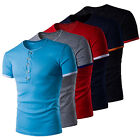Men's Casual Shirts Summer Short Sleeve Crew Neck Fitted T-Shirt Tops 5 Colors