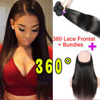"""7A Pre Plucked 360 Lace Frontal Closure With Bundles Human Hair 10""""-20"""" US HQ318"""