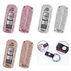 For Mazda Remote Car Key Cover Bling Crystal Aluminum Case Genuine Leather Chain