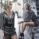 New Women Clubwear Playsuit Long Sleeve Bodycon Party Jumpsuit Romper Trousers
