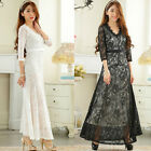 lace Bridesmaid Maxi Gown V collar Half Sleeve Evening Party Wedding Long Dress