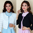 Christmas Women long sleeve short suit jacket chiffon flower Shrug Bolero Jacket